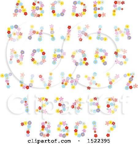 Clipart of Colorful Flower Capital Letters and Numbers - Royalty Free Vector Illustration by Alex Bannykh