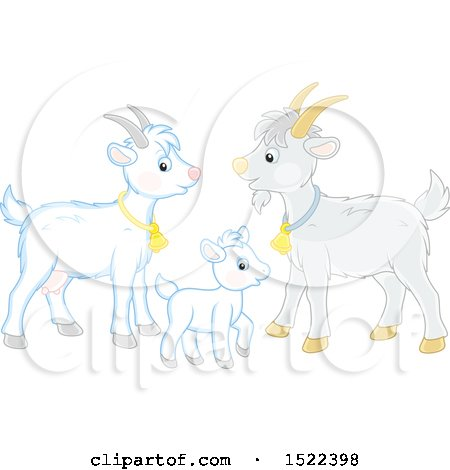 Clipart of a Goat Family - Royalty Free Vector Illustration by Alex Bannykh
