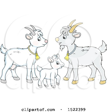 Clipart of a Cute Goat Family - Royalty Free Vector Illustration by Alex Bannykh