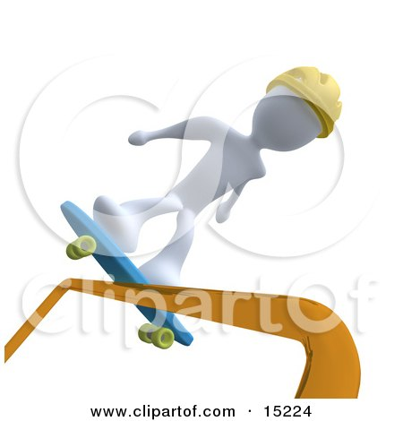 White Person Skateboarding on a Rail And Wearing a Yellow Helmet  Posters, Art Prints