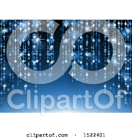 Clipart of a Blue Holiday Background with Hanging Strands, Flares and Stars - Royalty Free Vector Illustration by dero