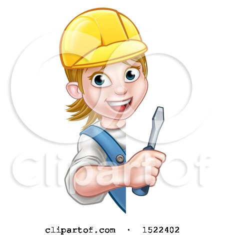 Clipart of a Cartoon Happy White Female Electrician Wearing a Hardhat, Holding a Screwdriver Around a Sign - Royalty Free Vector Illustration by AtStockIllustration