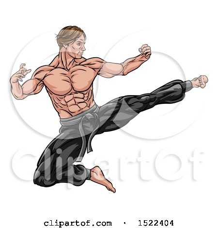 Clipart of a Strong Muscular Male Martial Artist Kicking - Royalty Free Vector Illustration by AtStockIllustration