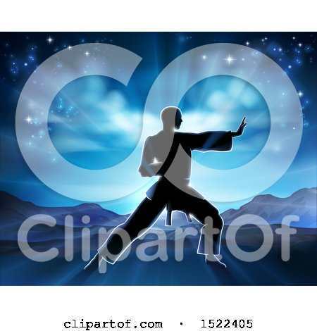 Clipart of a Silhouetted Man in a Karate Pose Against a Sunrise - Royalty Free Vector Illustration by AtStockIllustration