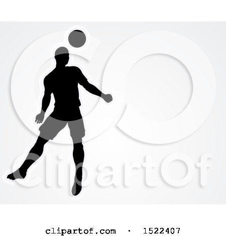 Clipart of a Silhouetted Male Soccer Player Heading a Ball over Gray, with Text Space - Royalty Free Vector Illustration by AtStockIllustration
