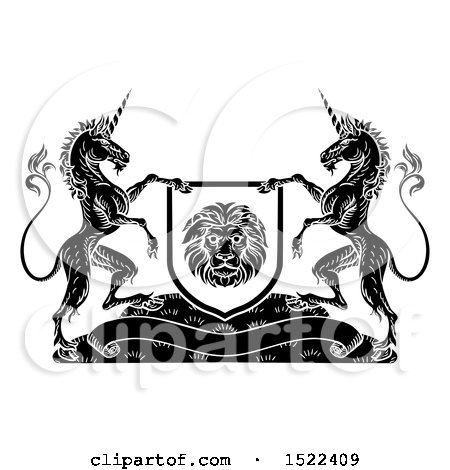 Clipart of a Pair of Unicorns Flanking a Lion Shield over a Banner, Black and White - Royalty Free Vector Illustration by AtStockIllustration