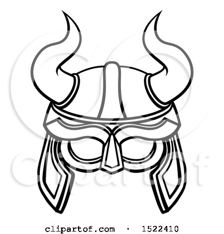 Clipart of a Lineart Viking Warrior Helmet with Horns - Royalty Free Vector Illustration by AtStockIllustration