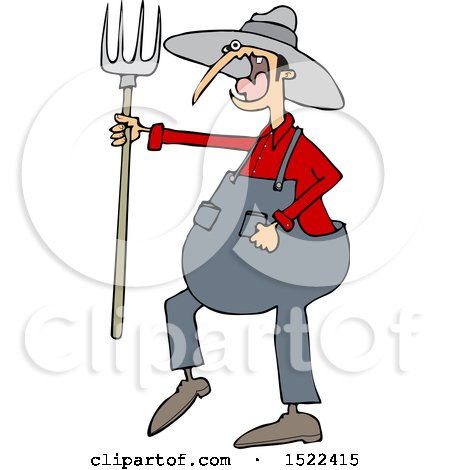 Clipart of a Cartoon Angry Yelling Male Farmer Holding a Pitchfork - Royalty Free Vector Illustration by djart