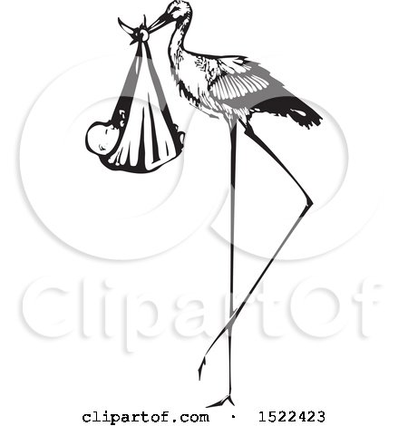 Clipart of a Stork Bird with a Bundled Baby, Black and White Woodcut - Royalty Free Vector Illustration by xunantunich