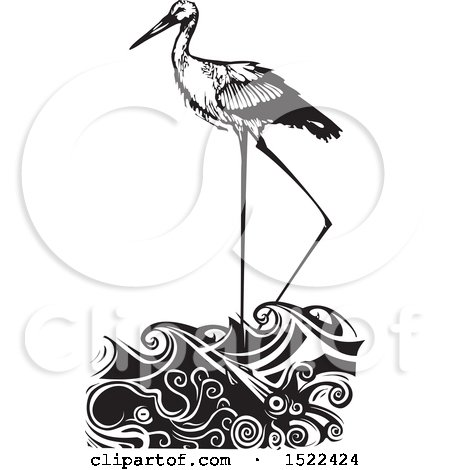 Clipart of a Stork Bird Wading in Water, Black and White Woodcut - Royalty Free Vector Illustration by xunantunich