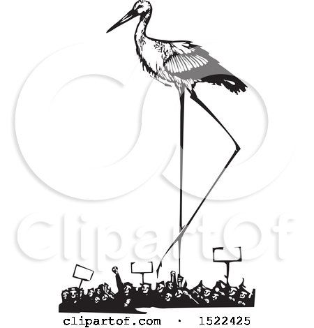 Clipart of a Stork Bird over a Crowd of Protesters, Black and White Woodcut - Royalty Free Vector Illustration by xunantunich