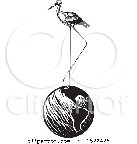 Clipart of a Stork Bird Standing on Planet Earth, Black and White Woodcut - Royalty Free Vector Illustration by xunantunich