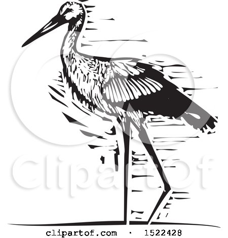 Clipart of a Walking Stork Bird, Black and White Woodcut - Royalty Free Vector Illustration by xunantunich