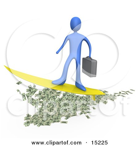 Blue Rich Businessman Person Carrying A Briefcase And Standing Proud On A Yellow Surfboard While Surfing On Money Posters, Art Prints