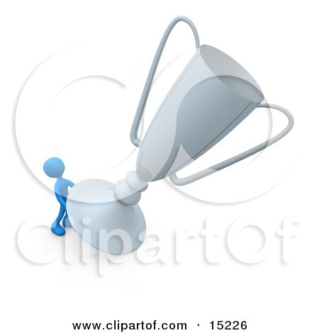 Winning Blue Athlete Person Trying To Move His Giant Silver Trophy Cup Clipart Illustration Image by 3poD