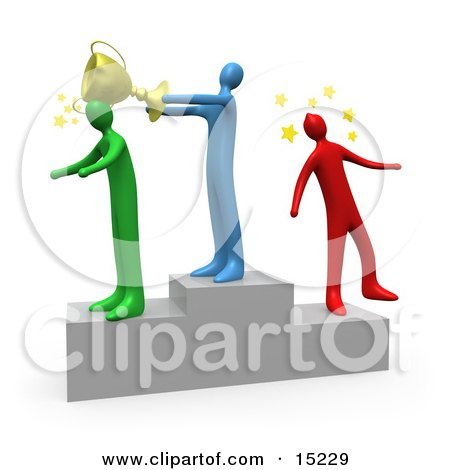 Blue Person Standing On The Winning Teir Of A Podium And Whacking The Runner Up With A Golden Trophy Cup After Hitting The 3rd Place Runner Up On The Head Clipart Illustration Image by 3poD