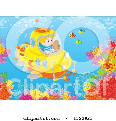 Clipart of a Caucasian Boy and Dog Exploring a Reef in a Submersible - Royalty Free Vector Illustration by Alex Bannykh
