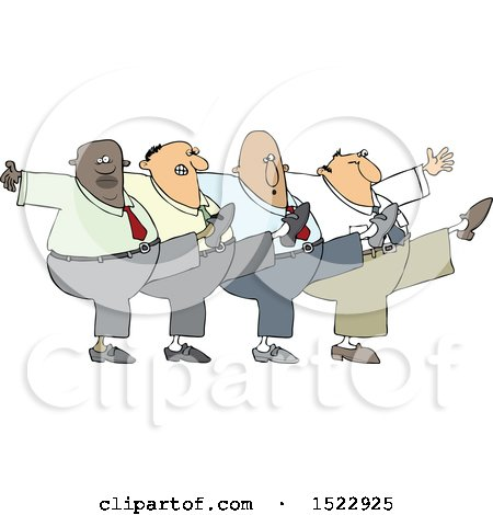 Clipart of a Cartoon Chorus Line of Business Men Dancing the Can Can - Royalty Free Vector Illustration by djart