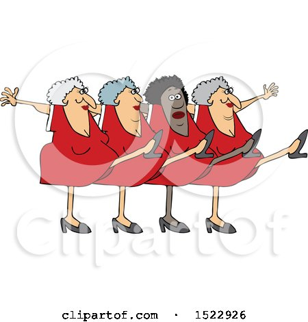 Clipart of a Cartoon Chorus Line of Senior Ladies Dancing the Can Can - Royalty Free Vector Illustration by djart