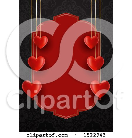 Clipart of a Valentines Day Border with Suspended Hearts and Red Text Space over Black - Royalty Free Vector Illustration by KJ Pargeter