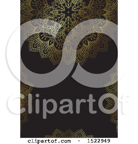 Clipart of a Gold and Black Mandala Background with Copyspace - Royalty Free Vector Illustration by KJ Pargeter