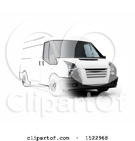 Clipart of a Partiall Sketched and 3d Delivery Van, on a White Background - Royalty Free Illustration by KJ Pargeter