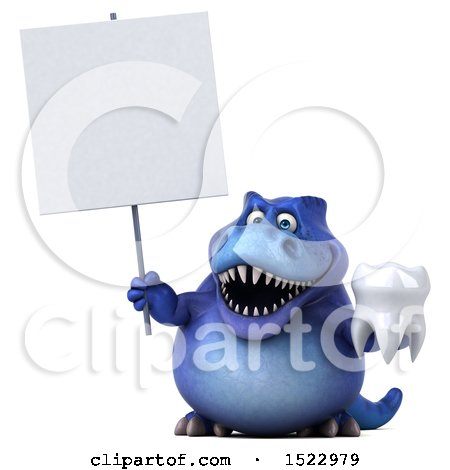 Clipart of a 3d Blue T Rex Dinosaur Holding a Tooth, on a White Background - Royalty Free Illustration by Julos