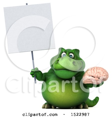 Clipart of a 3d Green T Rex Dinosaur Holding a Brain, on a White Background - Royalty Free Illustration by Julos