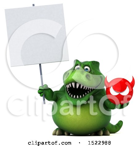 Clipart of a 3d Green T Rex Dinosaur Holding a Devil, on a White Background - Royalty Free Illustration by Julos