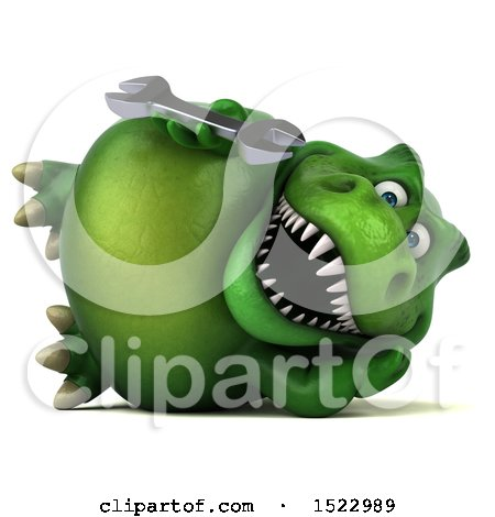 Clipart of a 3d Green T Rex Dinosaur Holding a Wrench, on a White Background - Royalty Free Illustration by Julos