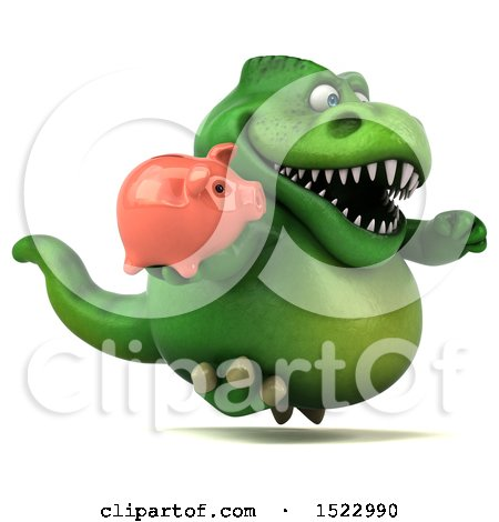 Clipart of a 3d Green T Rex Dinosaur Holding a Piggy Bank, on a White Background - Royalty Free Illustration by Julos
