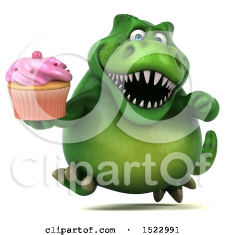 Clipart of a 3d Green T Rex Dinosaur Holding a Cupcake, on a White Background - Royalty Free Illustration by Julos
