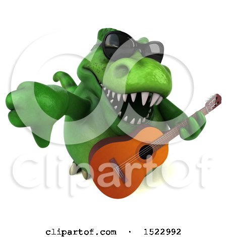 Clipart of a 3d Green T Rex Dinosaur Holding a Guitar, on a White Background - Royalty Free Illustration by Julos