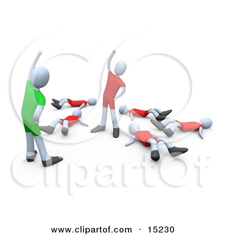 Fitness Instructor Facing The Last Person Standing During An Aerobics Class In A Fitness Gym Clipart Illustration Image by 3poD