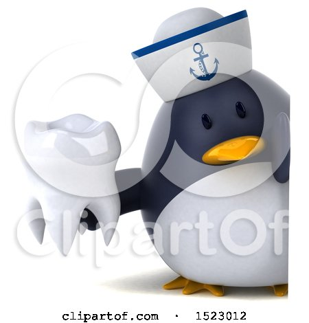 Clipart of a 3d Chubby Penguin Sailor Holding a Tooth, on a White Background - Royalty Free Illustration by Julos