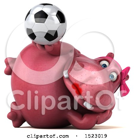 Clipart of a 3d Pink Henrietta Hippo Holding a Soccer Ball, on a White Background - Royalty Free Illustration by Julos