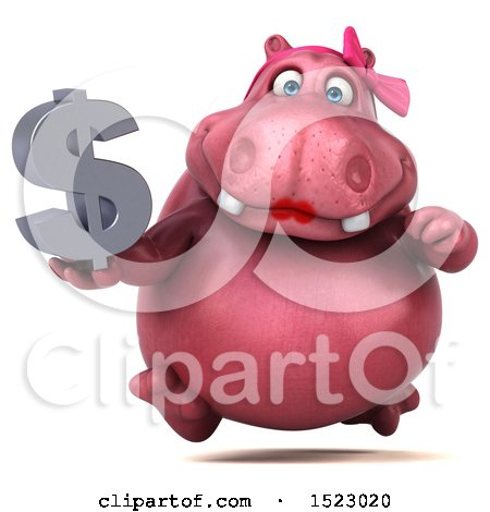 Clipart of a 3d Pink Henrietta Hippo Holding a Dollar Sign, on a White Background - Royalty Free Illustration by Julos