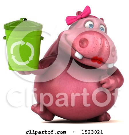 Clipart of a 3d Pink Henrietta Hippo Holding a Recycle Bin, on a White Background - Royalty Free Illustration by Julos