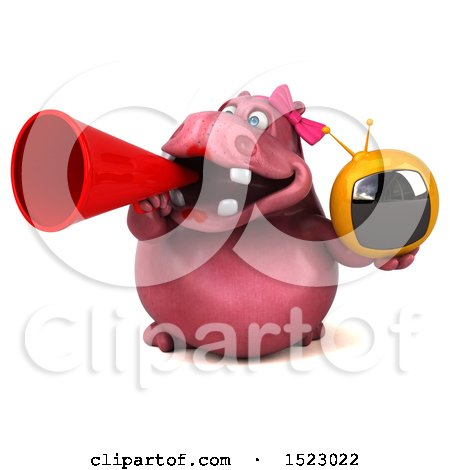 Clipart of a 3d Pink Henrietta Hippo Holding a Tv, on a White Background - Royalty Free Illustration by Julos