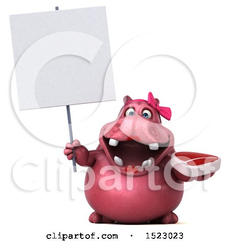 Clipart of a 3d Pink Henrietta Hippo Holding a Steak, on a White Background - Royalty Free Illustration by Julos