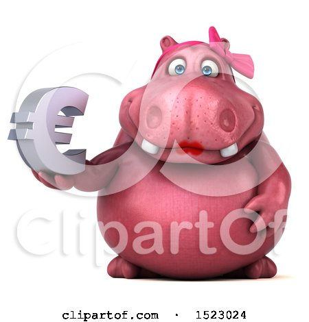 Clipart of a 3d Pink Henrietta Hippo Holding a Euro, on a White Background - Royalty Free Illustration by Julos