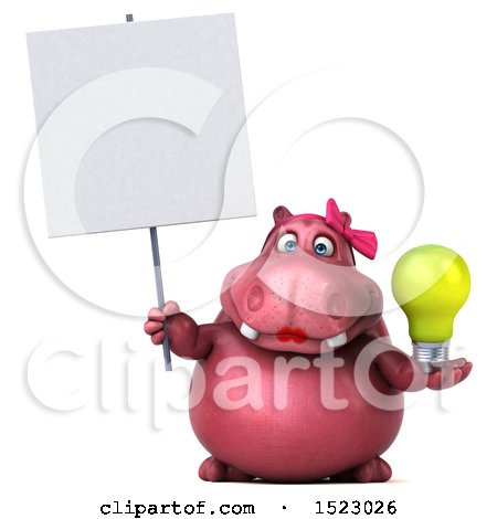Clipart of a 3d Pink Henrietta Hippo Holding a Light Bulb, on a White Background - Royalty Free Illustration by Julos