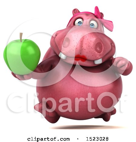 Clipart of a 3d Pink Henrietta Hippo Holding an Apple, on a White Background - Royalty Free Illustration by Julos