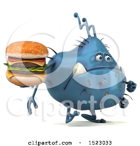 Clipart of a 3d Blue Germ Monster Holding a Burger, on a White Background - Royalty Free Illustration by Julos