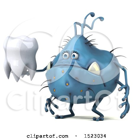 Clipart of a 3d Blue Germ Monster Holding a Tooth, on a White Background - Royalty Free Illustration by Julos