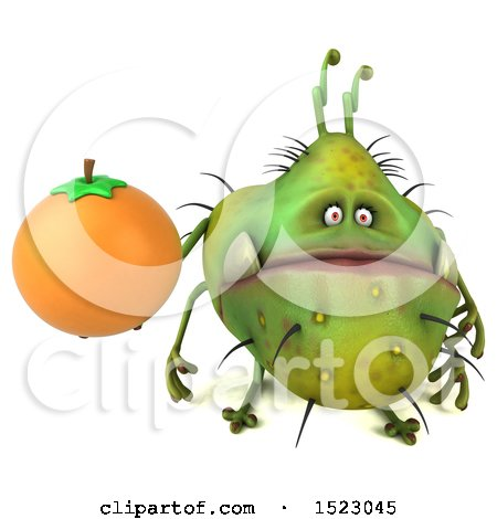 Clipart of a 3d Green Germ Monster Holding an Orange, on a White Background - Royalty Free Illustration by Julos