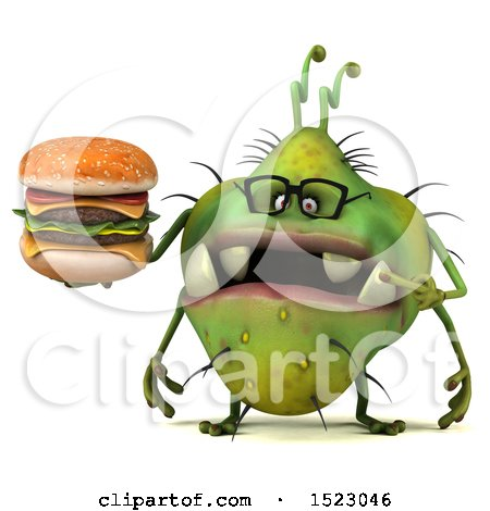 Clipart of a 3d Green Germ Monster Holding a Burger, on a White Background - Royalty Free Illustration by Julos