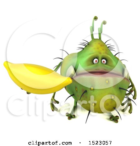 Clipart of a 3d Green Germ Monster Holding a Banana, on a White Background - Royalty Free Illustration by Julos