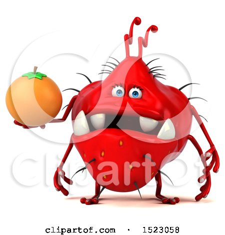 Clipart of a 3d Red Germ Monster Holding an Orange, on a White Background - Royalty Free Illustration by Julos
