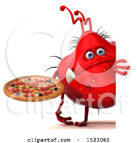 Clipart of a 3d Red Germ Monster Holding a Pizza, on a White Background - Royalty Free Illustration by Julos